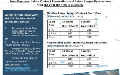 Time to reserve your River Run Indoor Court Time